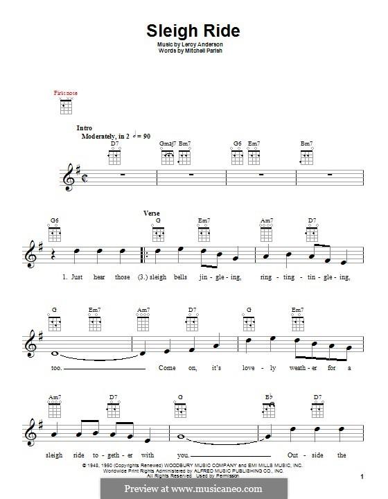 Sleigh Ride: Für Ukulele by Leroy Anderson