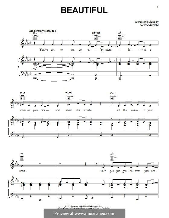 Beautiful: Für Stimme und Klavier (oder Gitarre) by Carole King