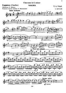 Chaconne in g-Moll: Für Violine und Basso Continuo – Violinstimme by Tomaso Vitali
