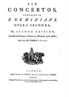 Sechs Konzerte für Streicher und Basso Continuo, Op.2: Vollständiger Satz – Partitur by Francesco Geminiani