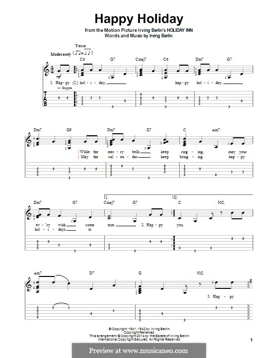 Happy Holiday: Für Gitarre mit Tab by Irving Berlin