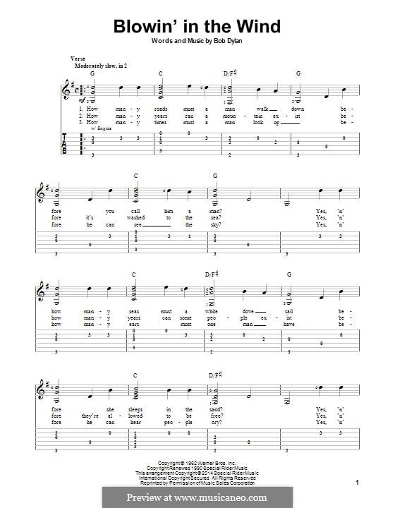Blowin' in the Wind: Für Gitarre mit Tab by Bob Dylan