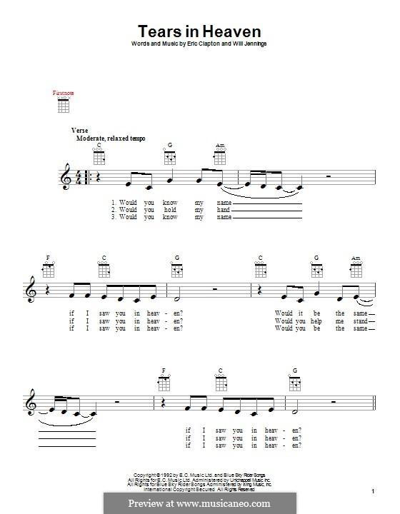 Tears in Heaven: Für Ukulele by Eric Clapton, Will Jennings