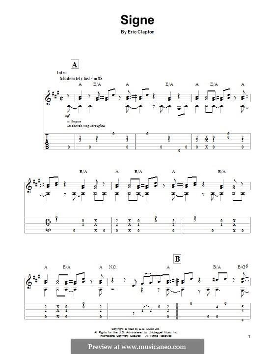 Signe: Für Gitarre mit Tab by Eric Clapton