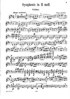 Sinfonie Nr.8 in h-Moll 'Unvollendete', D.759: Bearbeitung für Violine und Klavier – Solo Stimme by Franz Schubert