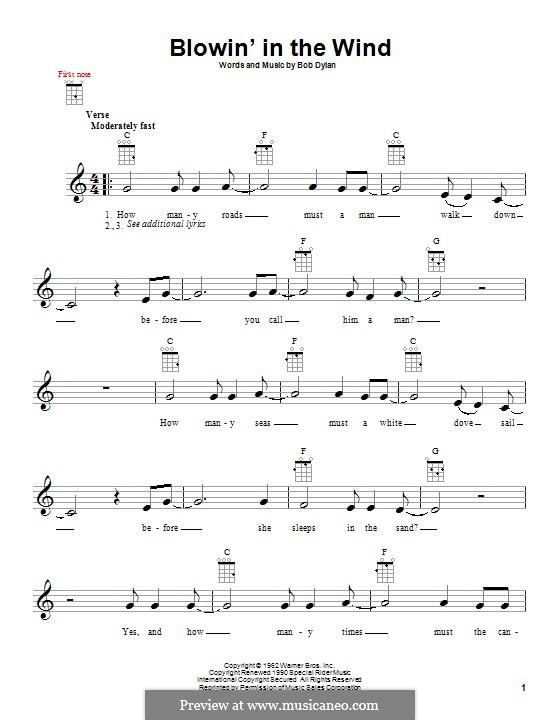 Blowin' in the Wind: Für Ukulele by Bob Dylan