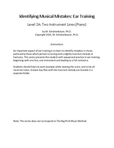 Ear Training: Identifying Musical Mistakes: Level 2A: Two Instrument Lines (Piano) by Michele Schottenbauer