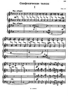 Symphonic Dances, Op.45: Teil I, für zwei Klaviere, vierhändig by Sergei Rachmaninoff