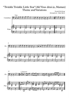 Twinkle, Twinkle Little Star: For double bass and piano by folklore