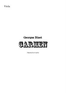 Vollständiger Oper: Orchestral viola part by Georges Bizet