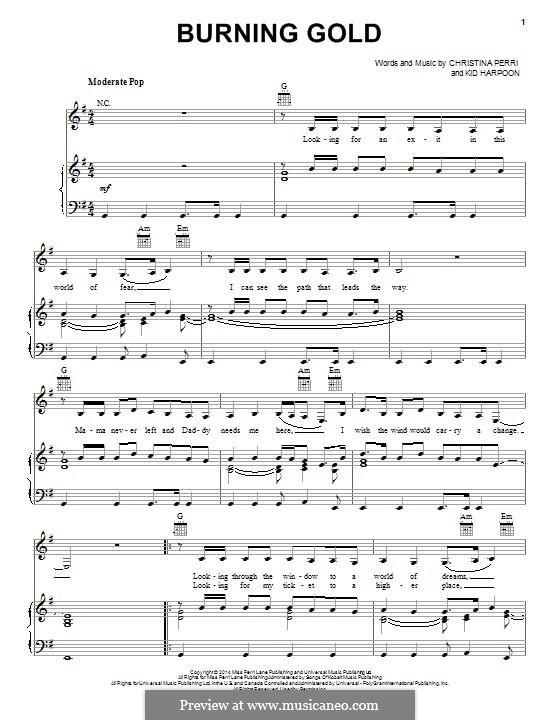 Burning Gold: Für Stimme und Klavier (oder Gitarre) by Christina Perri, Kid Harpoon