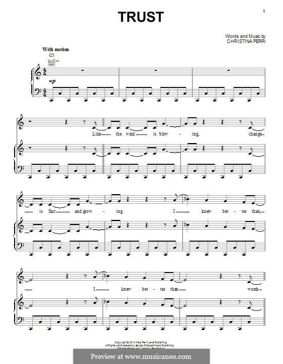 Trust: Für Stimme und Klavier (oder Gitarre) by Christina Perri