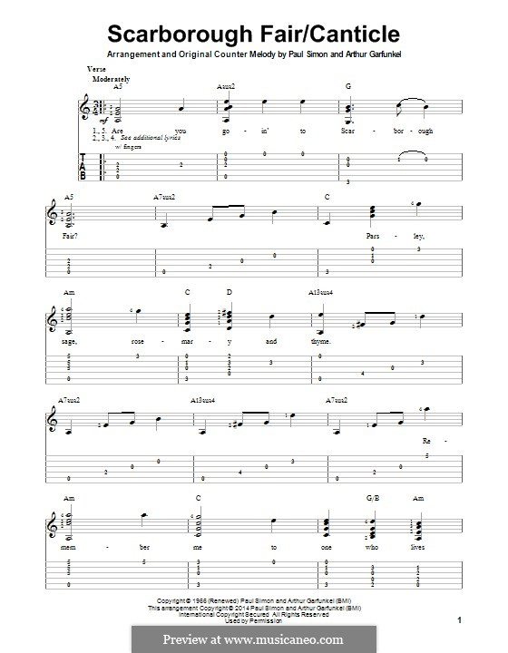 Scarborough Fair / Canticle: Für Gitarre mit Tab by folklore