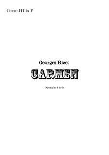 Vollständiger Oper: Orchestral french horn in F III part by Georges Bizet