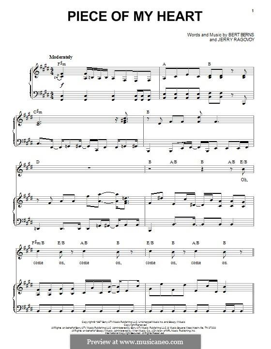 (Take a Little) Piece of My Heart: Für Stimme und Klavier by Bert Berns, Jerry Ragovoy