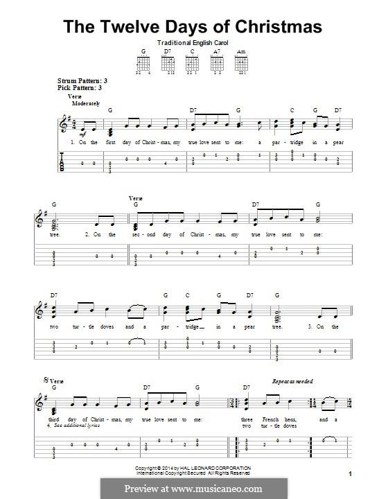 The Twelve Days of Christmas: Für Gitarre mit Tab by folklore