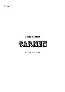 Vollständiger Oper: Orchestral oboe I part by Georges Bizet