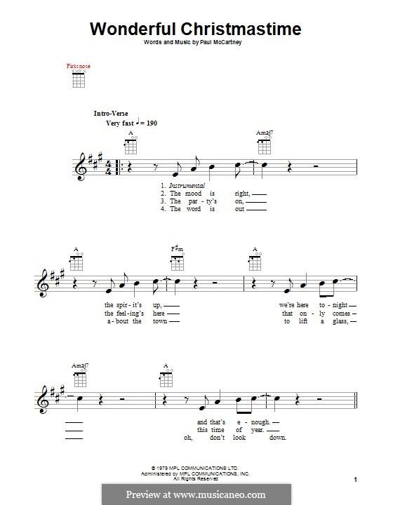 Wonderful Christmastime: Für Ukulele by Paul McCartney