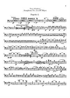 Sinfonie Nr.2 in B-Dur, D.125: Fagottstimme by Franz Schubert