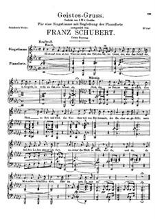 Geistes-Gruss, D.142 Op.92 No.3: Dritte Fassung by Franz Schubert