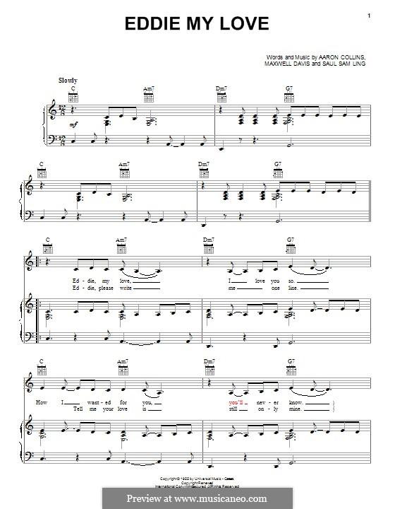 Eddie My Love (The Chordettes): Für Stimme und Klavier (oder Gitarre) by Aaron Collins, Maxwell Davis, Saul Sam Ling