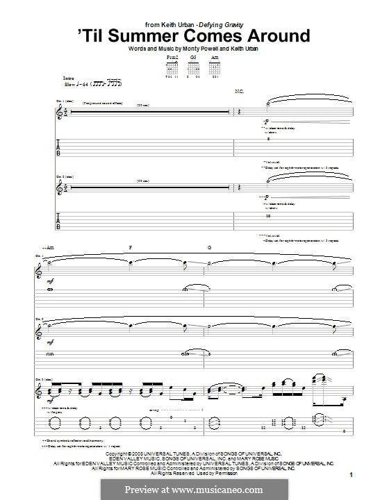 'Til Summer Comes Around (Keith Urban): Für Gitarre mit Tab by Monty Powell