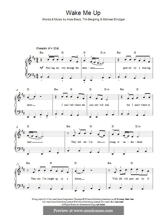Wake Me Up: Für Klavier by Aloe Blacc, Michael Einziger, Avicii, Arash Andreas Pournouri