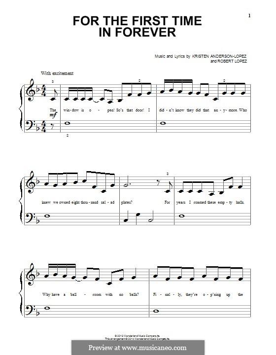For the First Time in Forever (Kristen Bell & Idina Menzel): Für Klavier by Robert Lopez, Kristen Anderson-Lopez