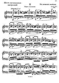 Six Moments Musicaux, Op.16: No.2 (first version) by Sergei Rachmaninoff