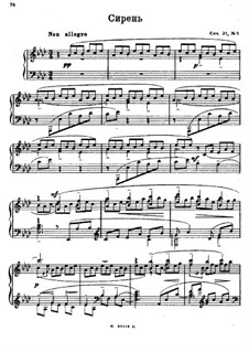 Twelve Romances, Op.21: No.5 Lilacs, for piano by Sergei Rachmaninoff
