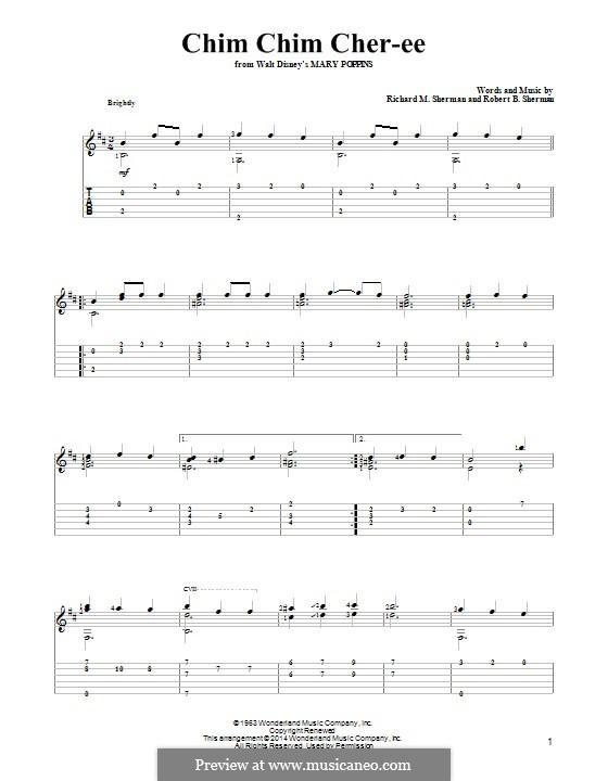 Chim Chim Cher-ee (from Mary Poppins): Für Gitarre mit Tab by Richard M. Sherman, Robert B. Sherman