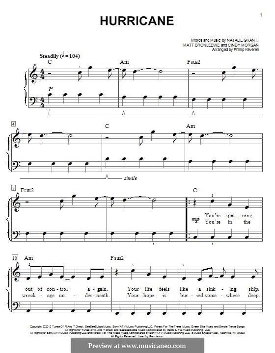 Hurricane: Für Klavier by Cindy Morgan, Matt Bronleewe, Natalie Grant
