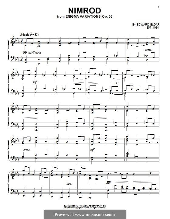 Variation Nr.9 'Nimrod': Für Klavier by Edward Elgar
