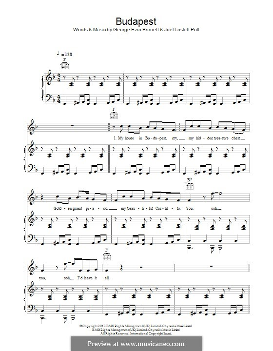 Budapest: Für Stimme und Klavier (oder Gitarre) by Joel Pott, George Ezra Barnett