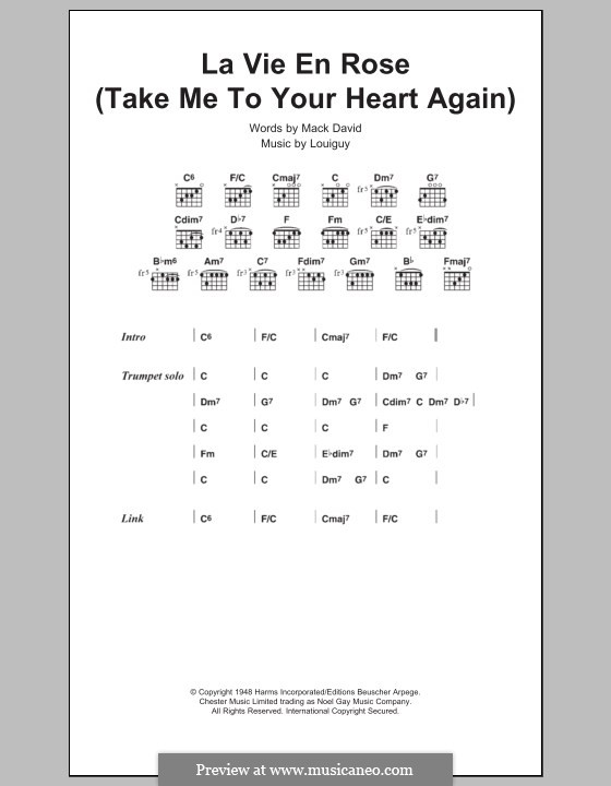 Take Me to Your Heart Again (La Vie en Rose): Texte und Akkorde by R. S. Louiguy