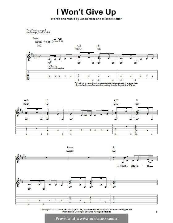 I Won't Give Up: Für Gitarre mit Tab by Jason Mraz, Michael Natter