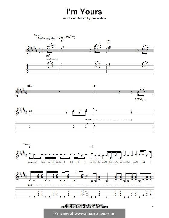 I'm Yours: Für Gitarre mit Tab by Jason Mraz