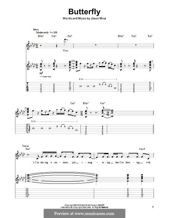 Butterfly: Für Gitarre mit Tab by Jason Mraz