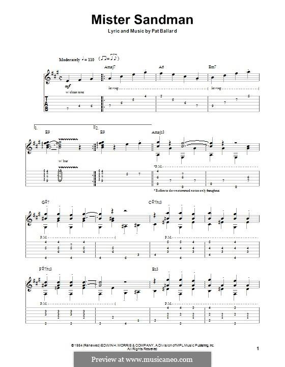 Mister Sandman (The Chordettes): Für Gitarre mit Tab by Pat Ballard