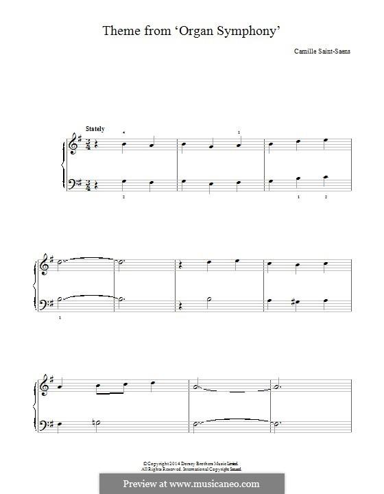 Sinfonie Nr.3 in c-Moll 'Orgelsinfonie', Op.78: Thema, für Klavier by Camille Saint-Saëns