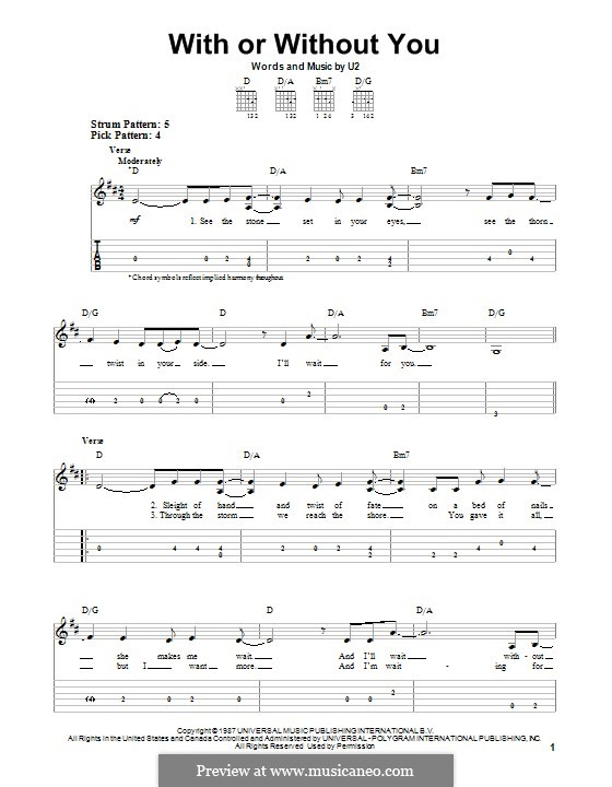 With or without You: Für Gitarre mit Tab by U2