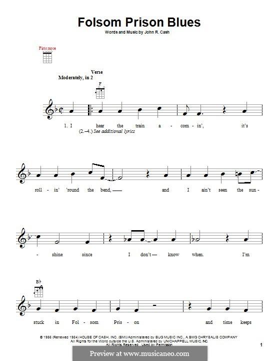 Folsom Prison Blues: Für Ukulele by Johnny Cash