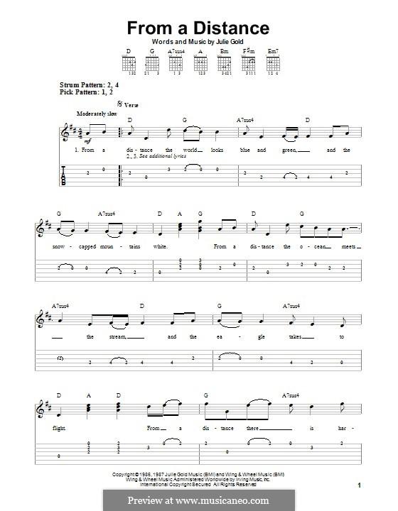 From a Distance: Für Gitarre mit Tab by Julie Gold
