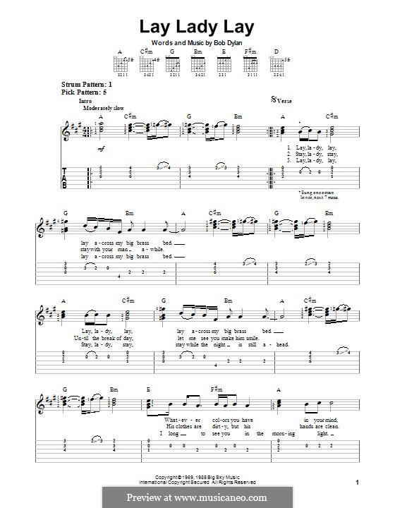 Lay Lady Lay: Für Gitarre mit Tab by Bob Dylan