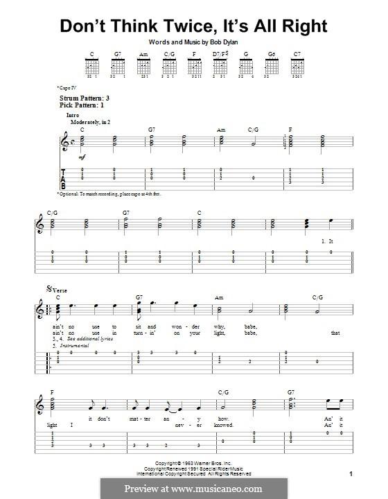 Don't Think Twice, It's Alright: Für Gitarre mit Tab by Bob Dylan