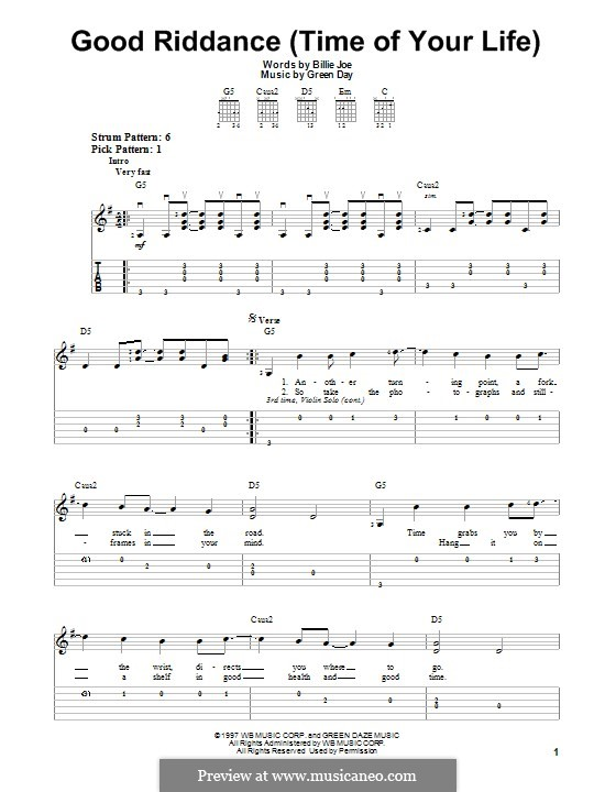 Good Riddance (Time of Your Life): Für Gitarre mit Tab by Billie Joe Armstrong, Tré Cool, Michael Pritchard