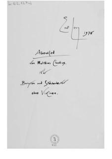 Abendlied für Bariton und Streichorchester ohne Violinen: Vollpartitur by Ernst Levy