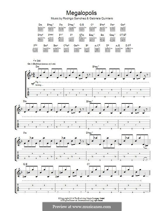 Megalopolis: Für Gitarre mit Tab by Gabriela Quintero, Rodrigo Sánchez