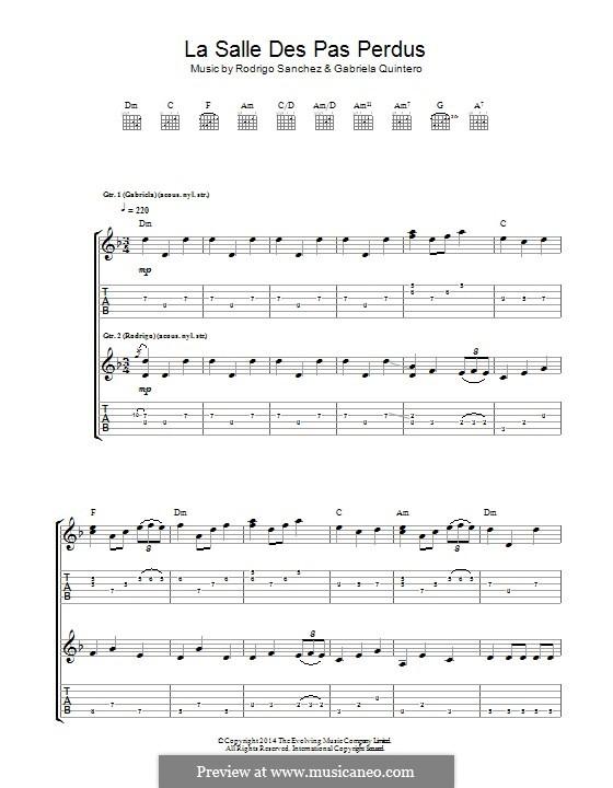 La Salle des pas Perdus: Für Gitarre mit Tab by Gabriela Quintero, Rodrigo Sánchez