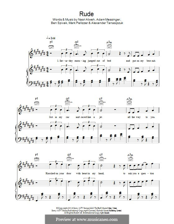 Rude (MAGIC!): Für Stimme und Klavier (oder Gitarre) by Adam Messinger, Nasri Atweh, Mark Pellizzer, Alex Tanas, Ben Spivak
